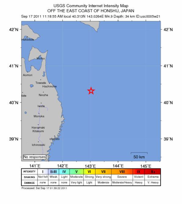 Trzęsienie ziemi w Japonii, 17.09 (USGS)