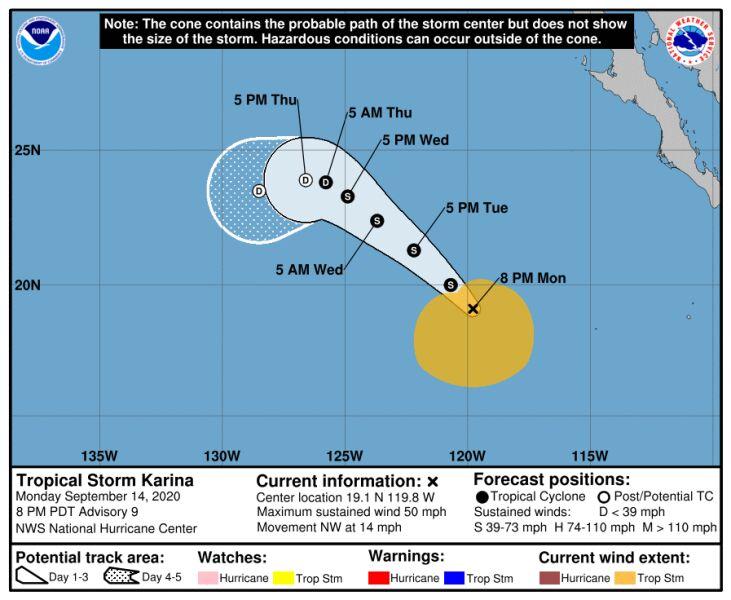 Trasa przebiegu burzy tropikalnej Karina (NHC, NOAA)
